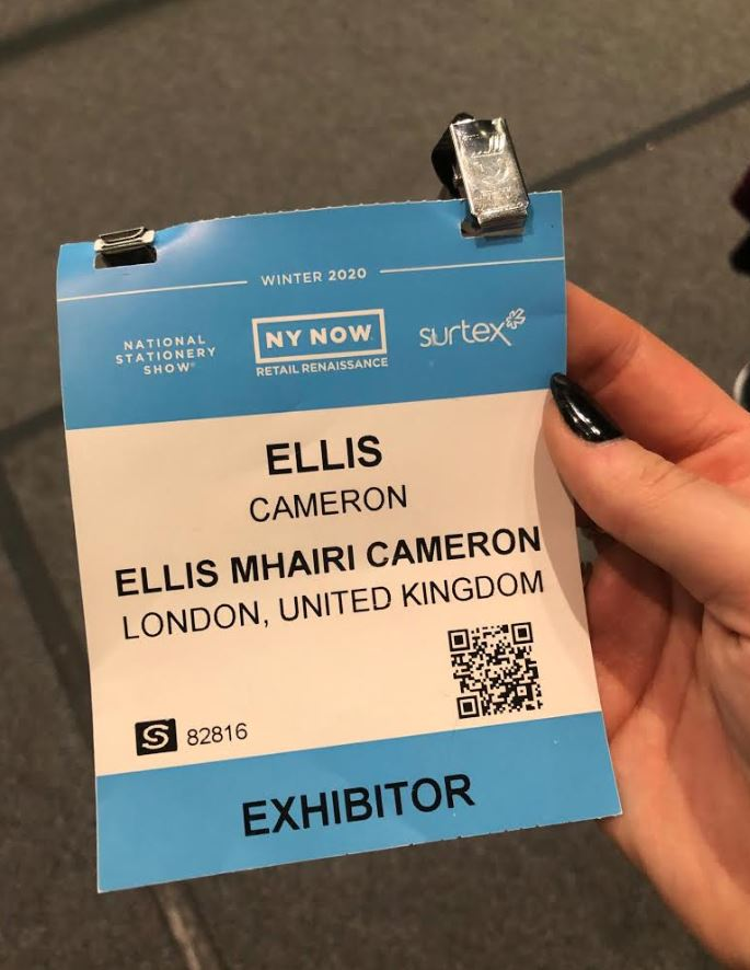 Ellis's pass to the trade show in the Big Apple.