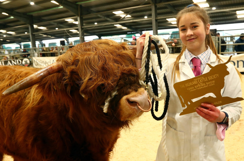 A delighted Emily Armstrong, from Tiree, who was the winner of the overall young handler competition. NO_T07_HighlandCattleShow05_Photograph-Kevin-McGlynn