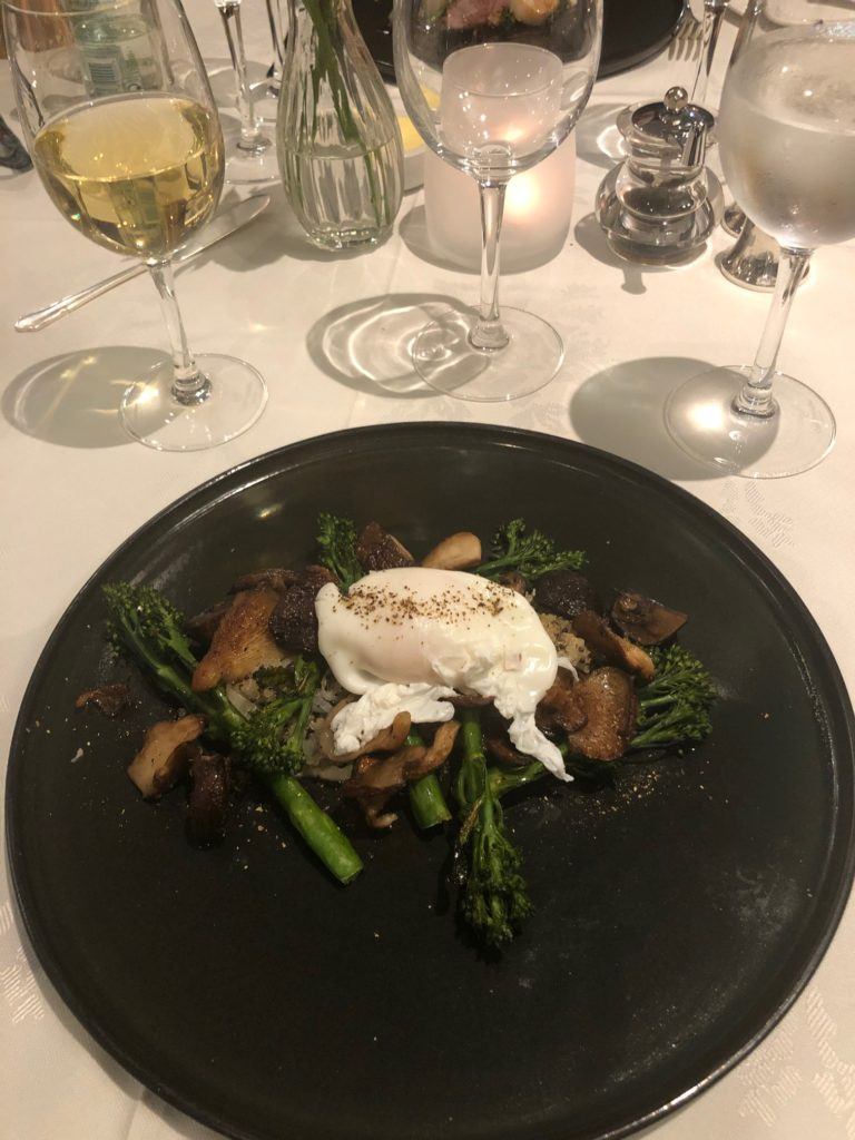 Charred Tender-stem Brocolli, Quinoa, Cashew Nuts, Wild Mushroom and Poached Egg