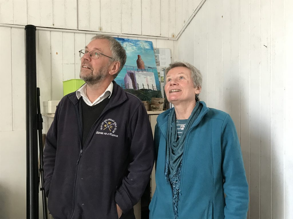 Dr David Binnie and Carol MacNeill inspect the vestry roof that needs re-slating.