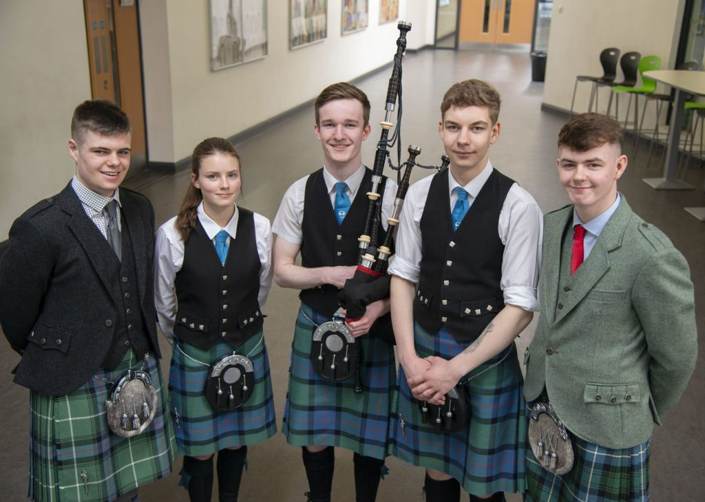MUSIC FESTIVAL  Competitors in the bagpipe solos aged 16 - 18 event, (left - right)  Andrew Orr, Katie MacRae, Reinis Cameron, Patrick Turner and Ronnie McIntosh.   Photograph: Iain Ferguson, alba.photos