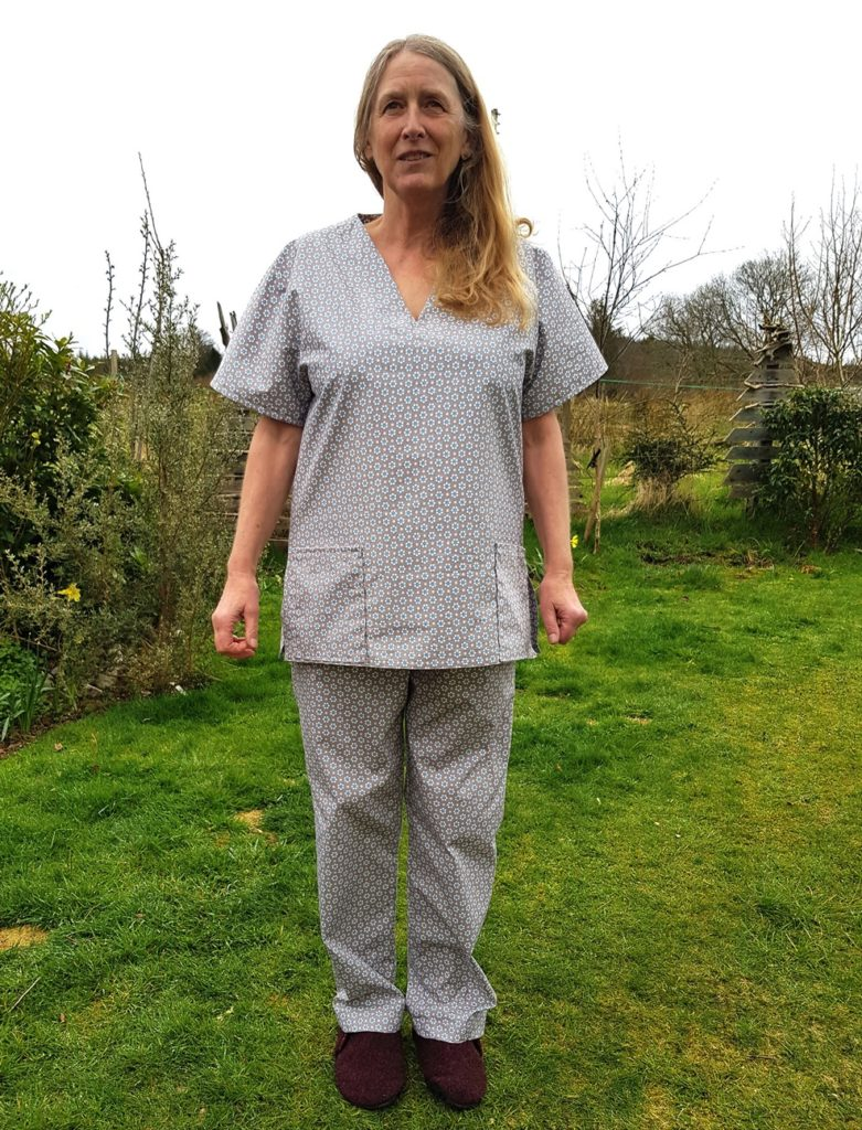 Maggie Brotherstone tries out the Barcaldine-made scrubs for size.