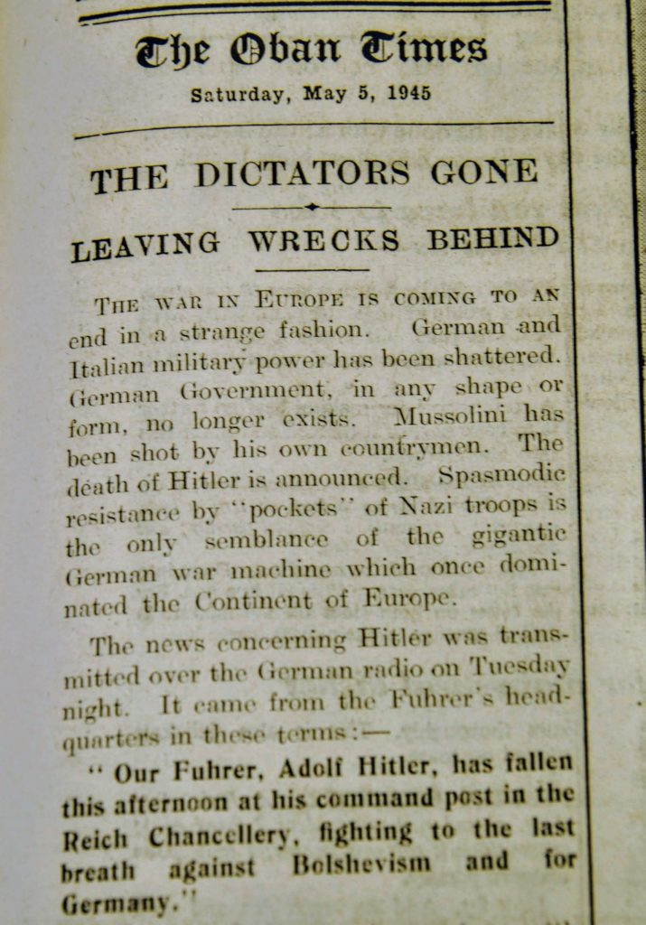 'The dictators gone' from The Oban Times