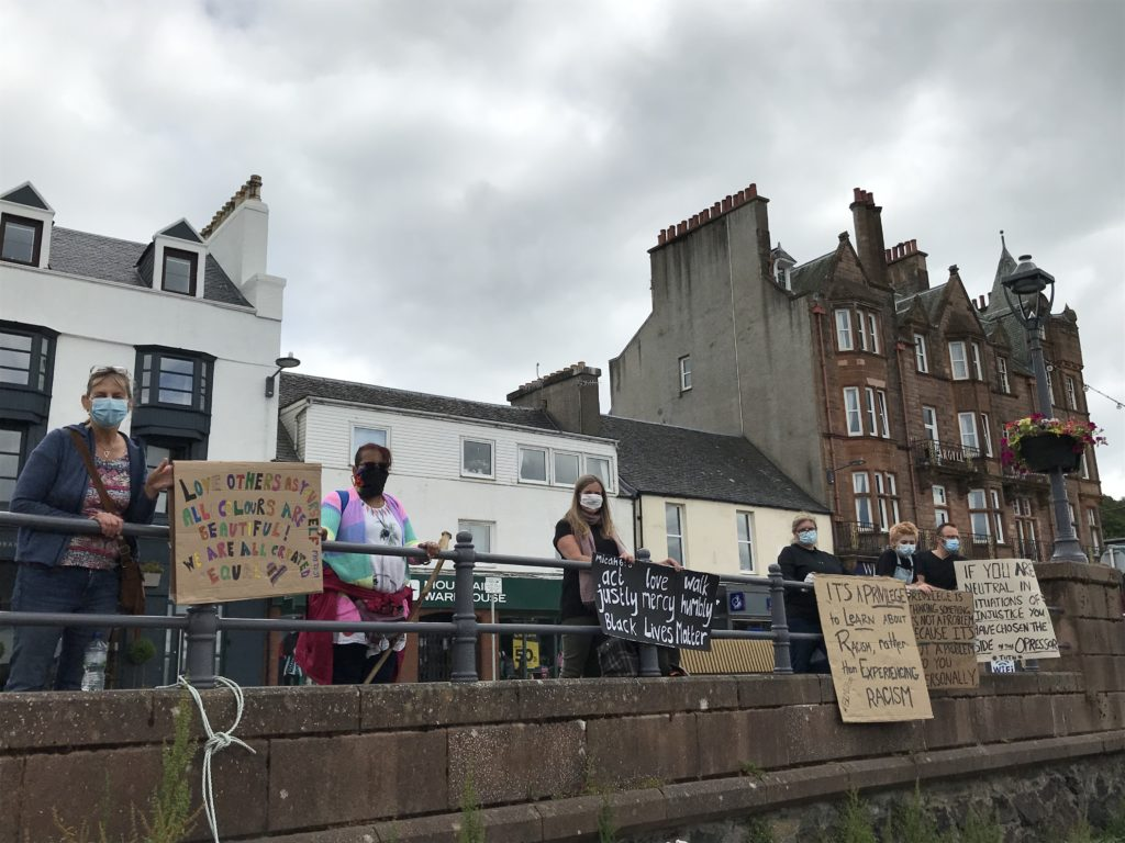 The show of solidarity lined the seafront.