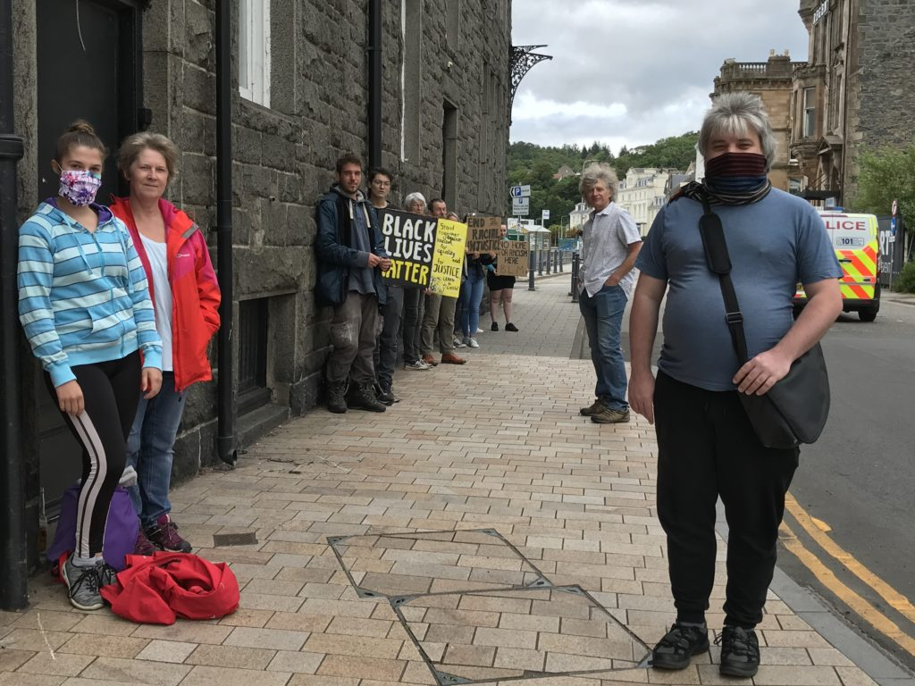 Argyll and Bute councillor Kieron Green was among supporters wearing face coverings and keeping a safe social distance.
