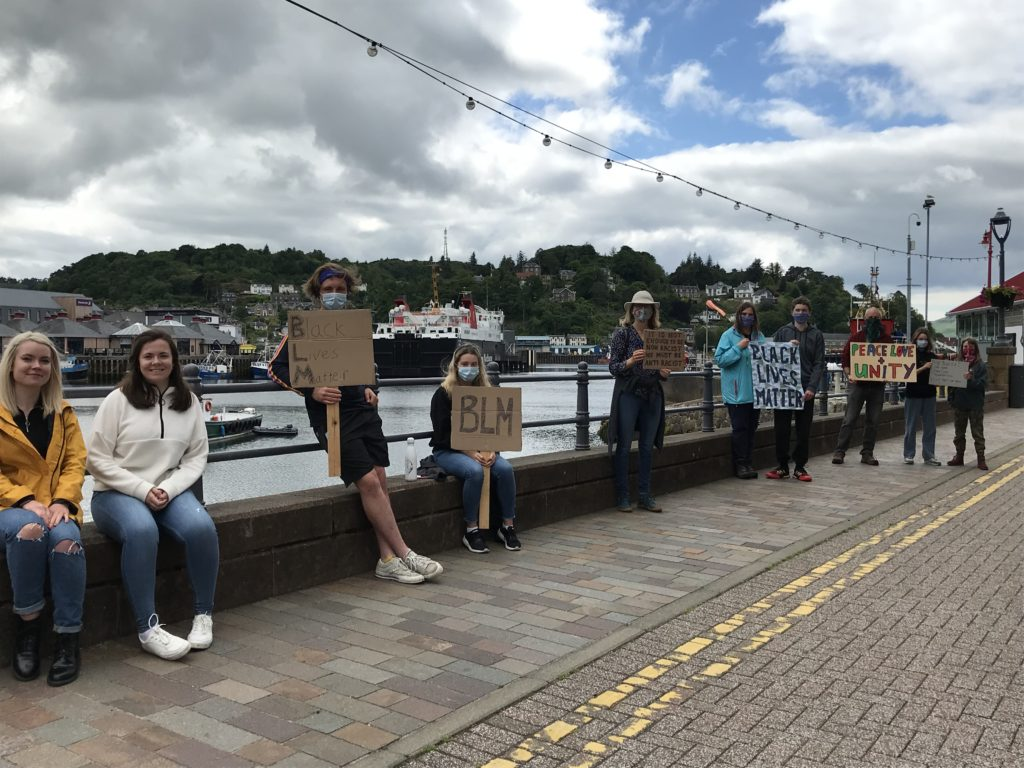 Placards shared messages from the heart along Oban's esplanade during a recent peaceful rally.