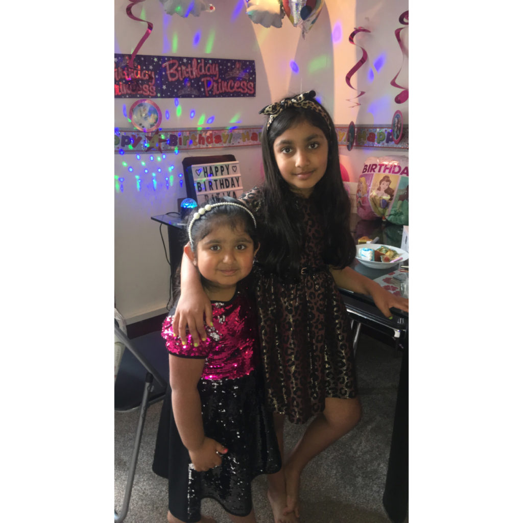 Fort William sisters Tanisha and Ritika Sanger turned seven and four respectively in June. Their birthdays are 20 days apart and they ended up celebrating at home as both girls wanted to have picnic and it was pouring with rain on both days. Their dad baked cakes for them.