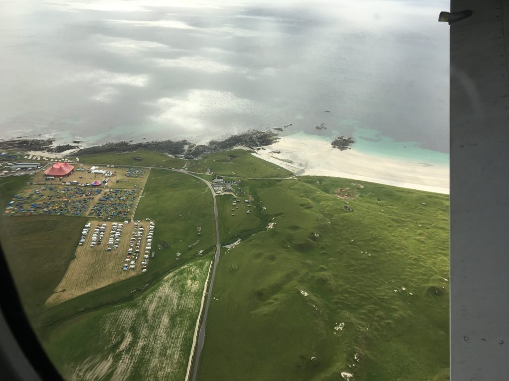 A view from the skies of Tiree Music Festival.