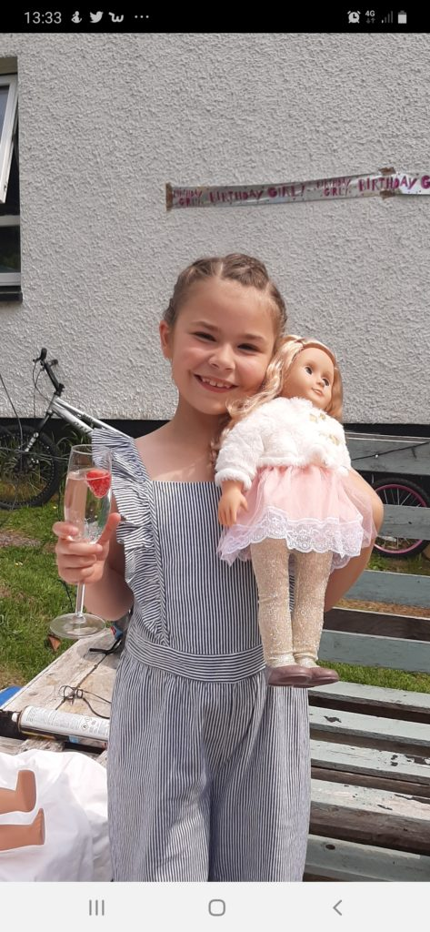Mirrim Rae celebrated her 8th Birthday in lockdown on the weekend of June 13/14. Mirrim had a pool/disco party where she was joined by her mum, dad and brother Lewis.