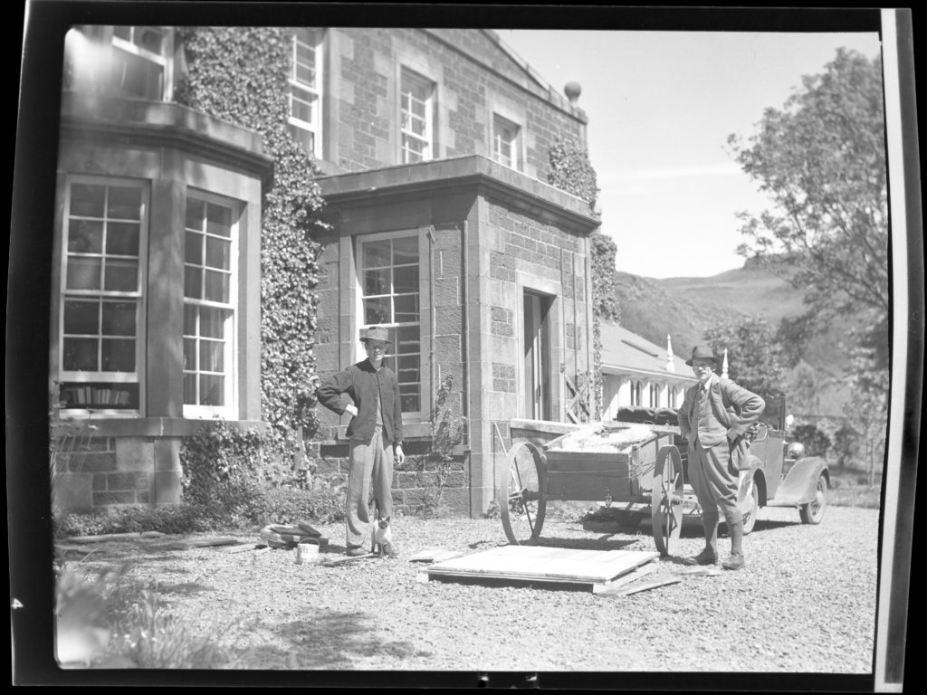 John and his father Duncan Campbell outside Canna House in 1938.