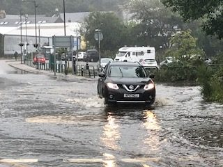 Flooding at Lochavuillen estate in Oban. Photograph: Kevin McGlynn