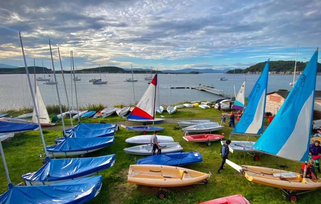 Dinghies ready and waiting to be back out on the water at Oban Sailing Club. Photograph: Andy Lockwood.