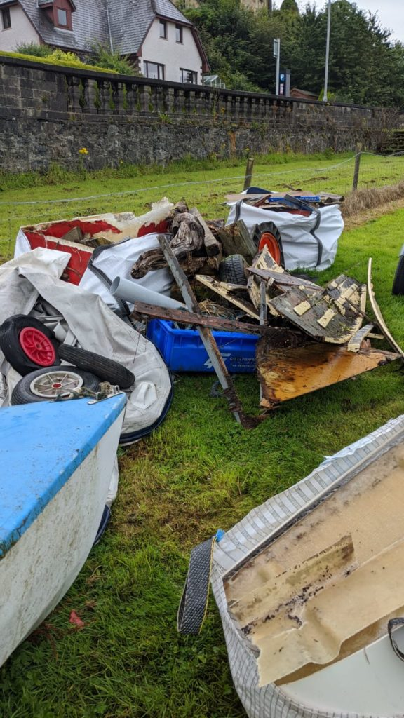 Some of the abandoned sailing gear tidied away from the dinghy park.