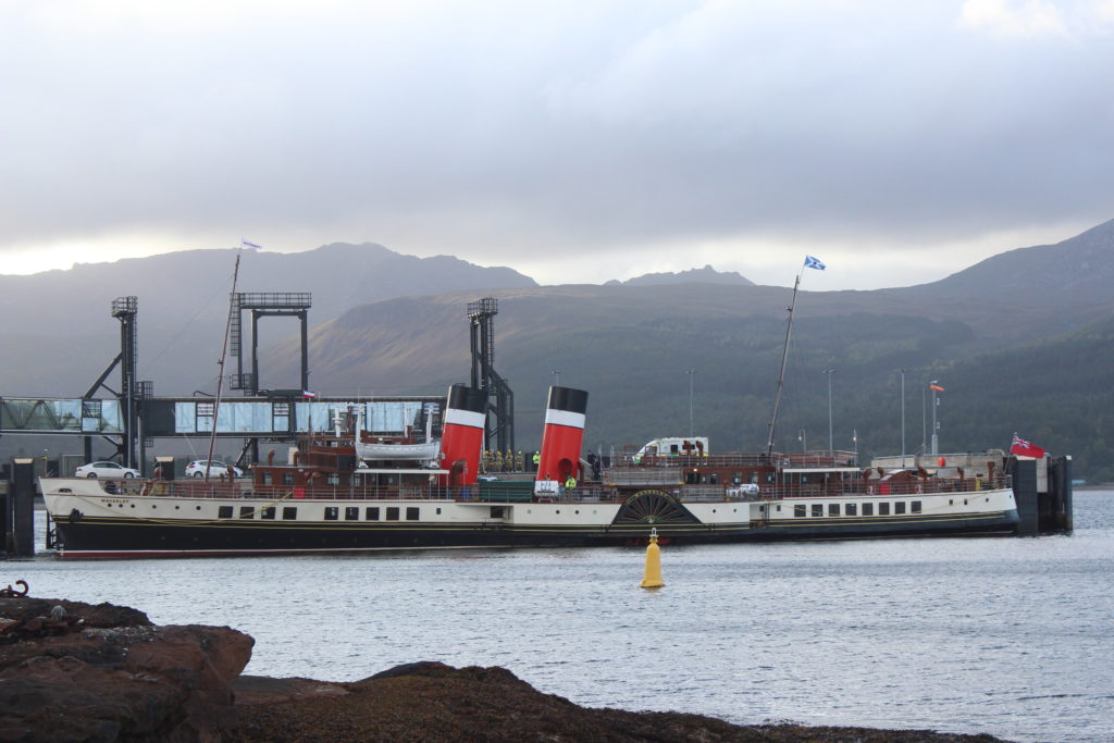 The crippled Waverley sits at Brodick pier.
