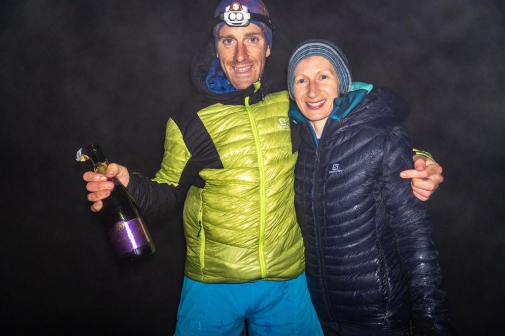 A jubilant Donnie with his wife Rachael on Ben Hope at the finish.