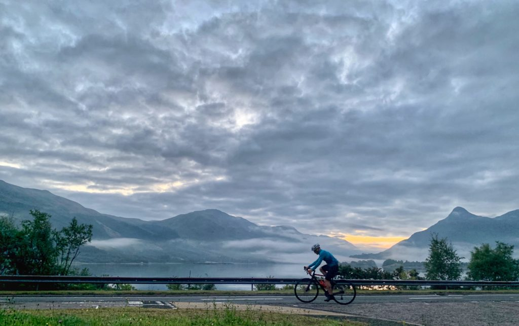 Donnie Campbell cycling from Ballachulish to Kinlochleven.