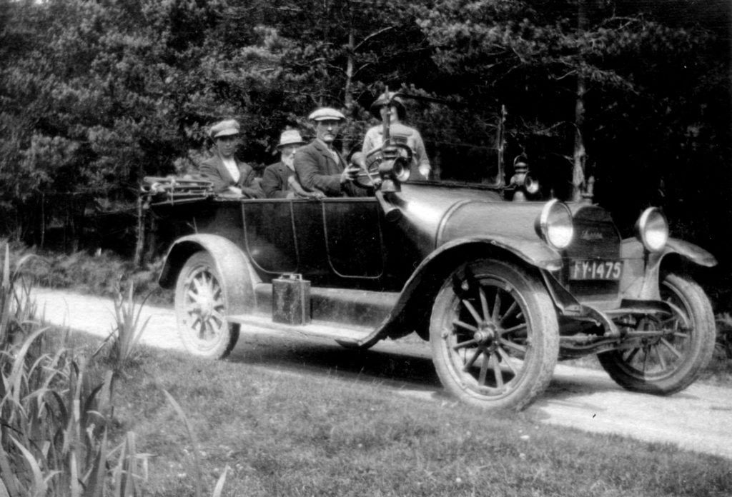 When Donnie left school he worked at Laudale as a shepherd for the Fletcher family seen here in their car. The driver is Donald Graham, Strath, Laudale. Photograph supplied by Iain Thornber.
