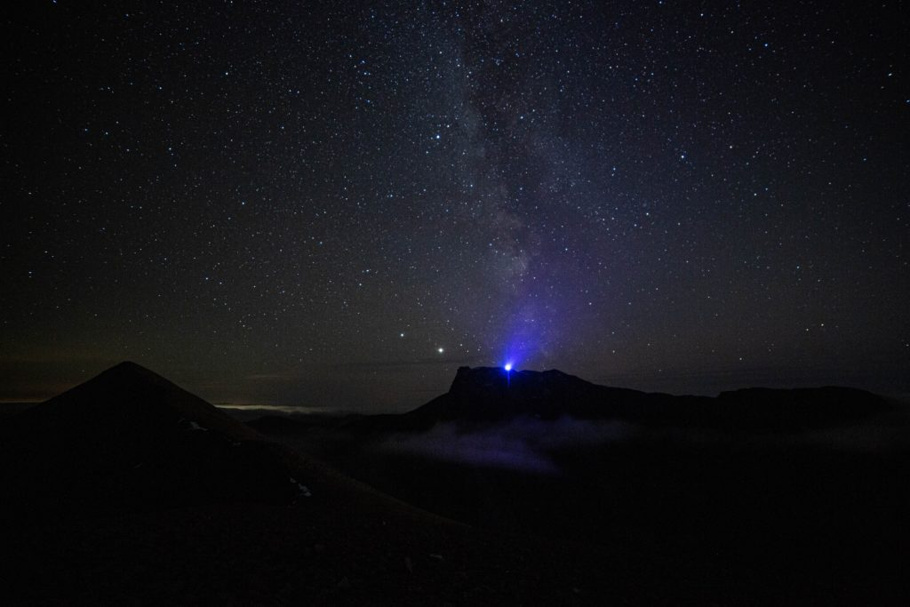 The Blue light representing Scotland on the summit of Ben Nevis from Càrn Mòr Dearg. Photograph: Martin Forry.