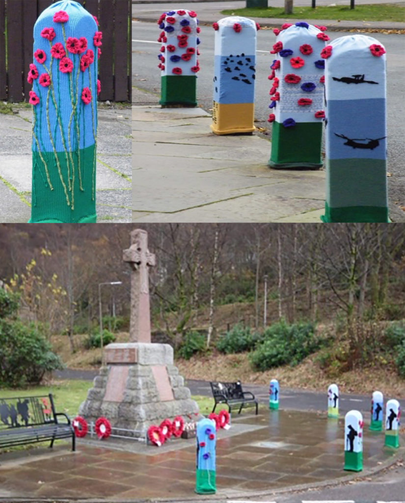 The knitted bollard covers at Kinlochleven.  NO F46 KINLOCHLEVEN WAR MEMORIAL