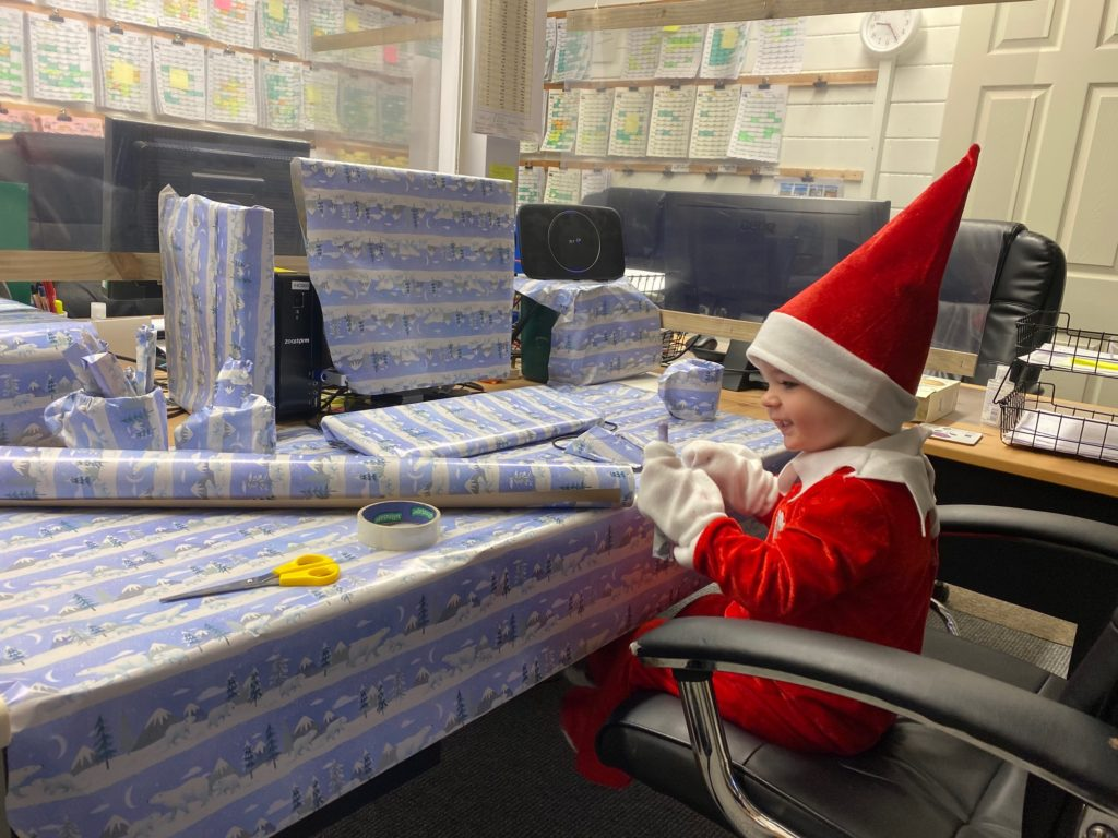 Wrapping paper bombing granny's office