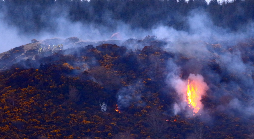 Fire Crews battle to control wildfire above McCaigs Tower towards Glencruitten. Photograph: Kevin McGlynn.