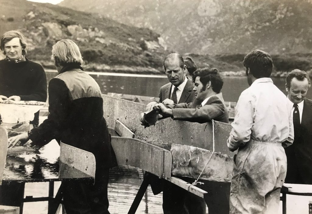 A visit to Marine Harvest at Ardnish salmon farm, Lochailort in 1974. Photograph courtesy of Mowi.