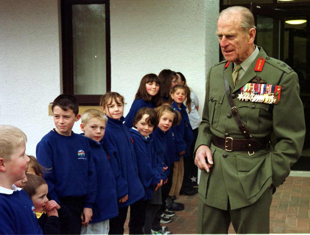 Prince Philip stopped to exchange a few words with the children of the new Spean Bridge School in 2002. Photograph by Iain Ferguson, The Write Image.