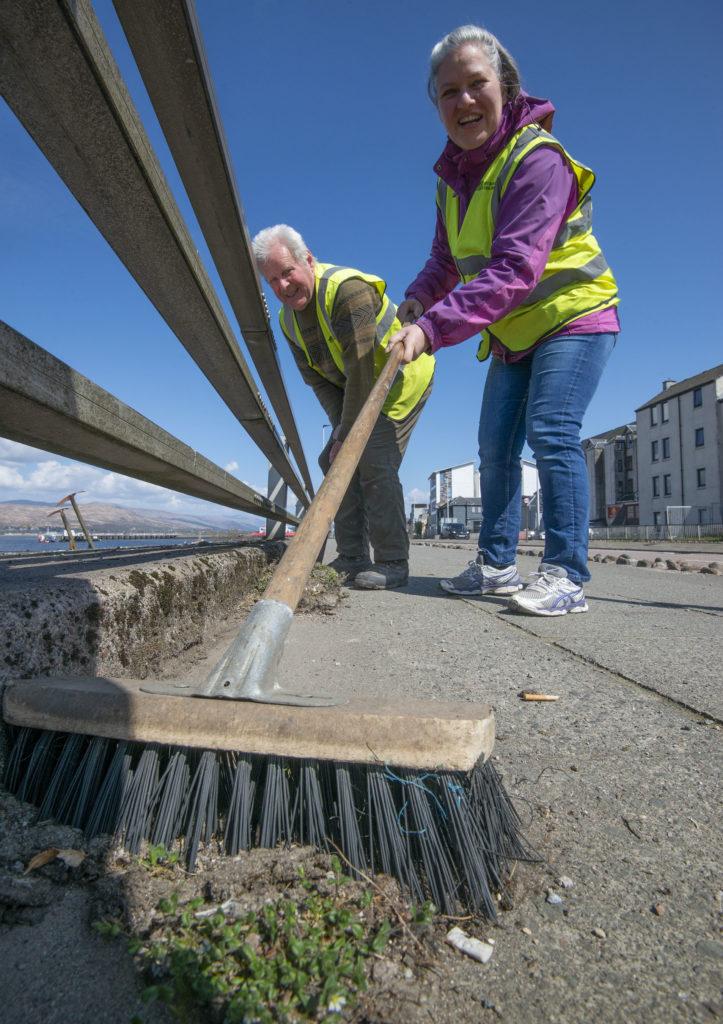 Promenade sweeping. Photograph: Iain Ferguson, alba.photos.