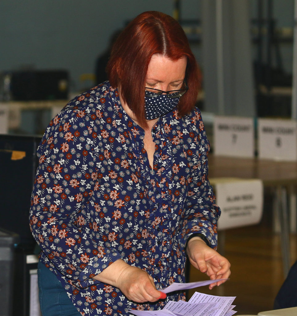 There were three mini counts, where candidates were called to view each as the adjudication of doubtful ballot papers took place. Photograph: Kevin McGlynn