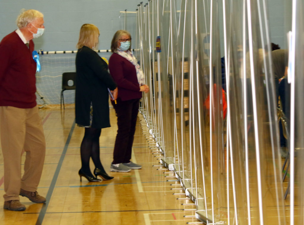 Plastic screens were in place to protect the counting staff as per the Covid guidelines. Photograph: Kevin McGlynn