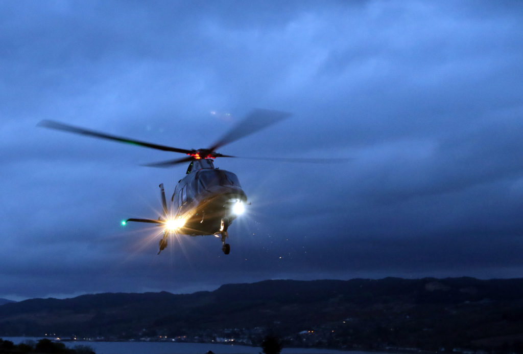 Ballot boxes arrived from the islands by helicopter. Photograph: Kevin McGlynn