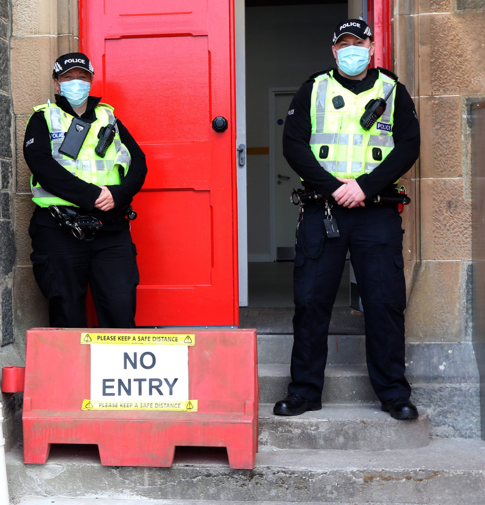 Oban police officers were on hand to ensure that the counts in all areas ran smoothly. Photograph: Kevin McGlynn