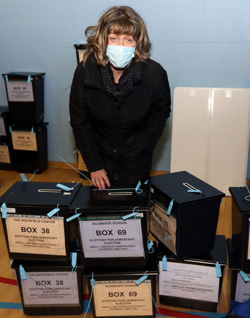 Lady Shirley MacLeod checks in ballot boxes as they arrive. Photograph: Kevin McGlynn