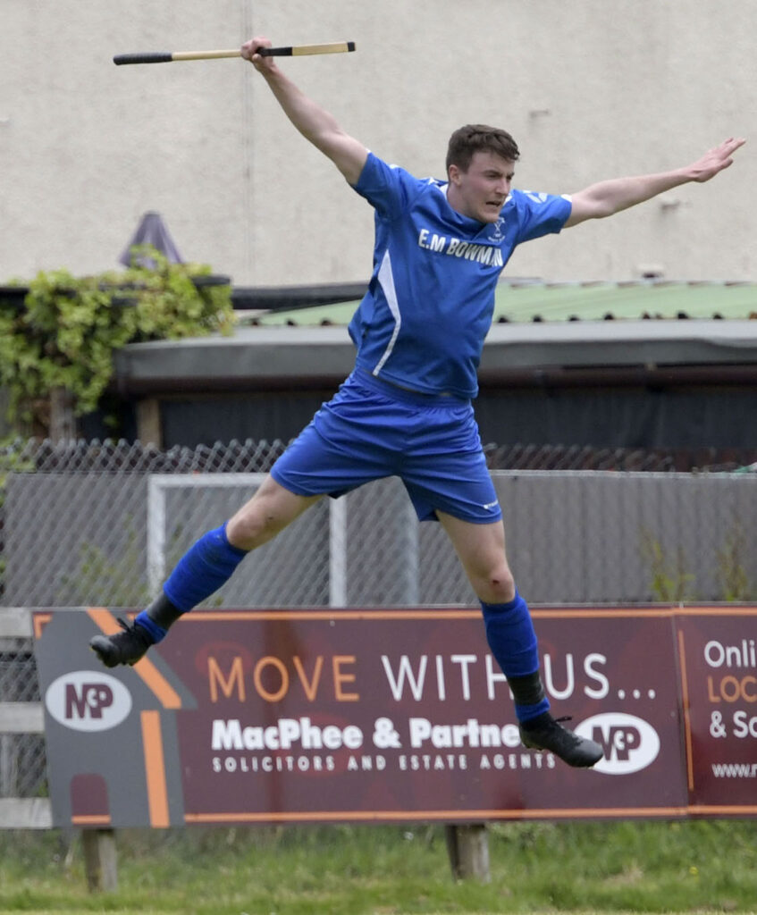 Aerial moves from Kilmallie's Innes Blackhall in defence of his goal during the match against Fort William on Saturday. Photograph: Iain Ferguson, alba.photos