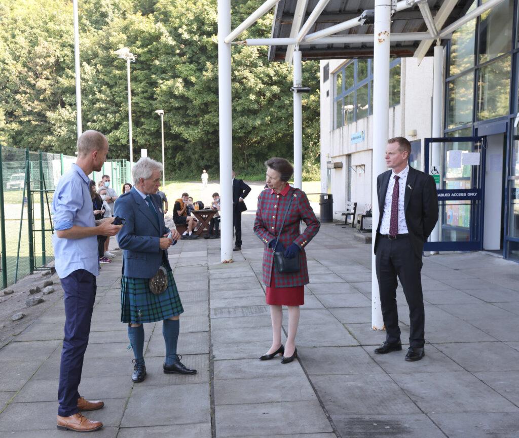Princess Anne with Neil Matheson Deputy Lord Lieutenant, Nick Wesley manger at Atlantis and Roger Elliot, Atlantis board member