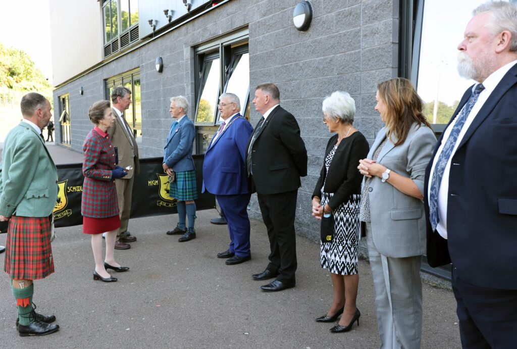 the royal couple meet Neil Matheson, Argyll and Bute Provost David Kinniburg, Deputy Provost Roddy McCuish, Councillor Elaine Robertson, Argyll and Bute Council chief executive Pippa Milne, and executive director Douglas Hendry