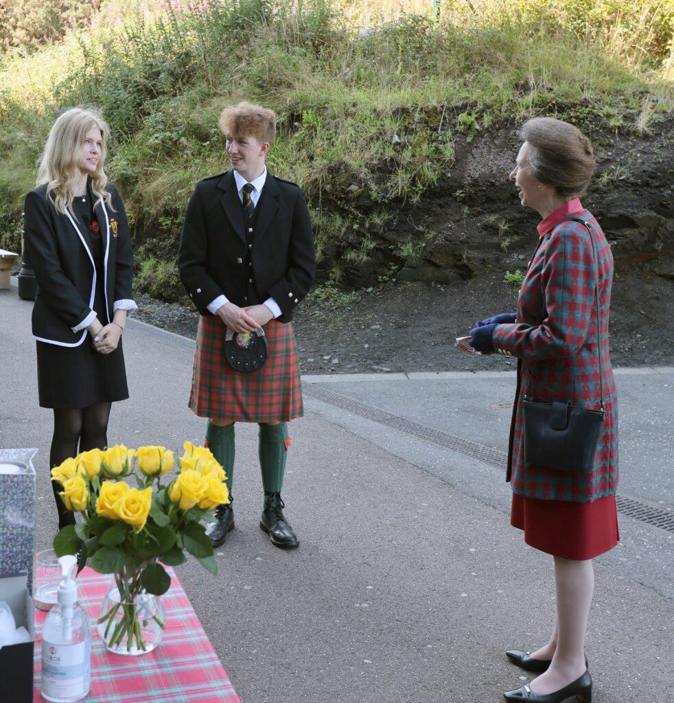 Head girl Hannah Crowe and head boy Angus Files showed the Princess around Oban High School campus.