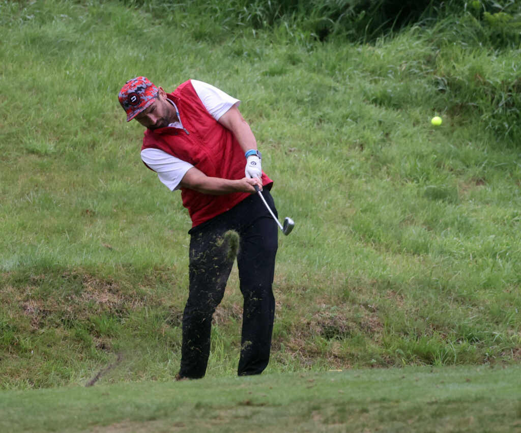 Paul Kersley plays his shot to the fourth green during the Oban Rotary Club Am Am. Photograph: Kevin McGlynn.