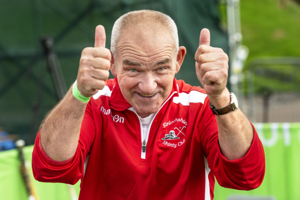 A delighted Kinlochshiel manager Johnston Gill just after the final whistle. Photograph: Neil Paterson.
