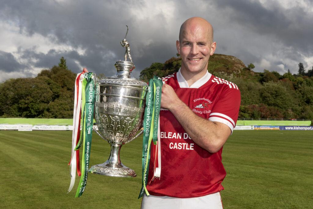 Keith Macrae, Kinlochshiel captain, with the Camanachd Cup. Photograph: Neil Paterson.