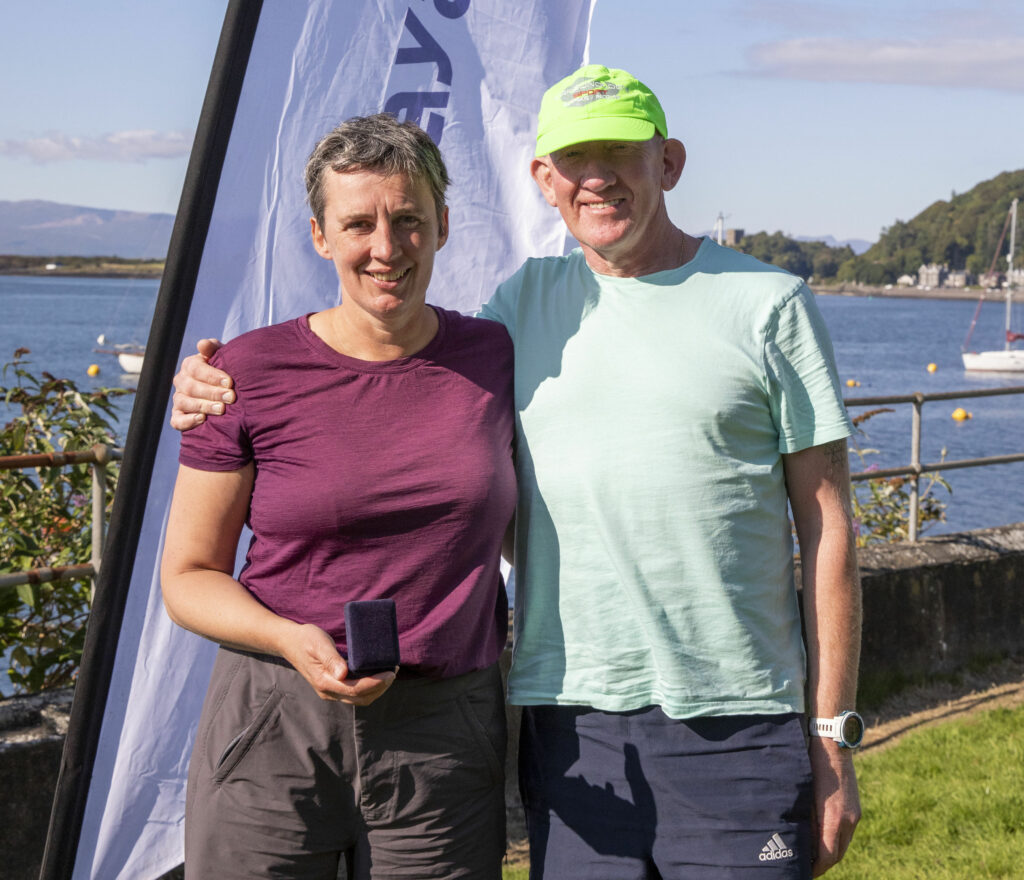 Louise Brown and Trevor Laffin Senior double ski winners 1hr 52m 35s