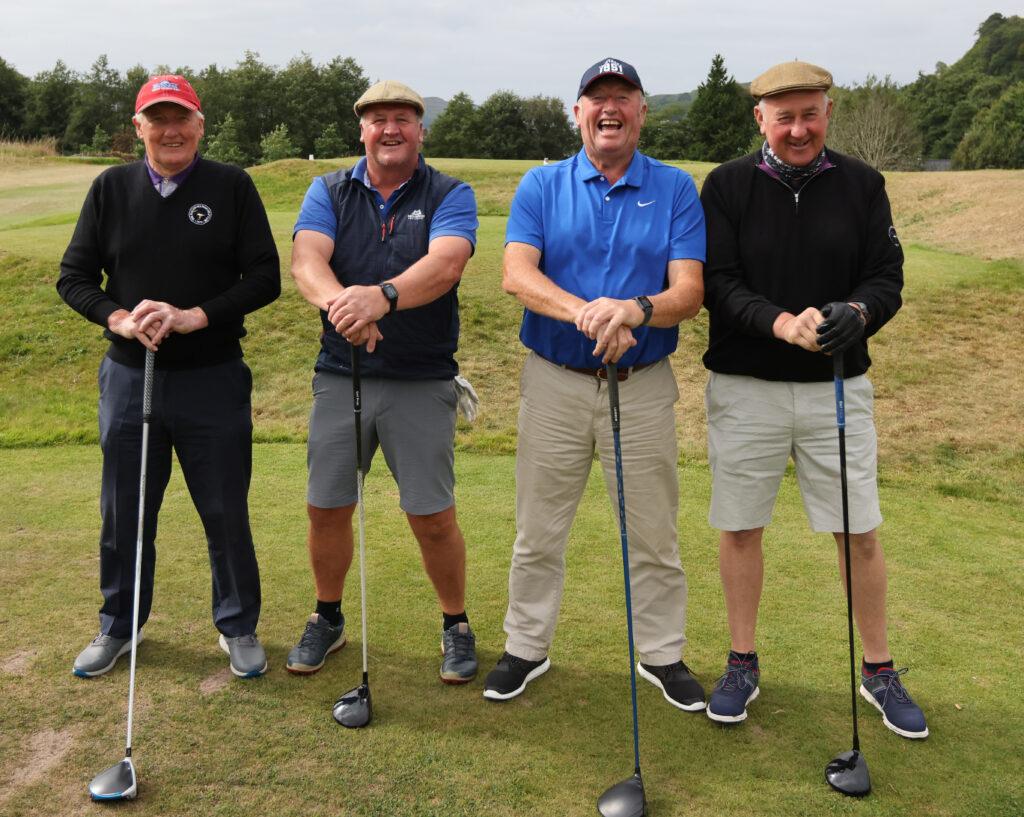 The Kintyre tractor men - John Rennie (machrihanish/gigha, Iain MacAlister Tarbert, Duncan Johnstone Tarbert/Tayinloan, Iain Johnstone Tarbert always make the effort to attend the golf day. Photograph: Kevin McGlynn
