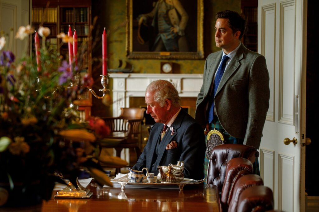 HRH The Duke of Rothesay in the castle's dining room. Photograph: Rosie Woodhouse.