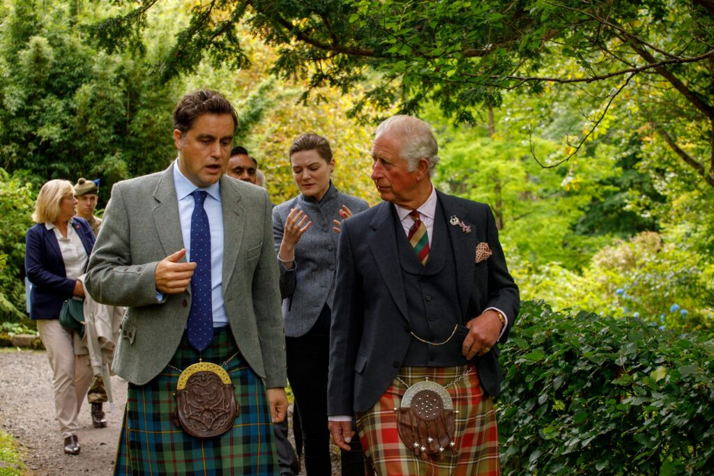 HRH The Duke and Duchess of Rothesay with Hugh MacLeod of MacLeod, 30th Chief of Clan MacLeod. Photograph: Rosie Woodhouse.