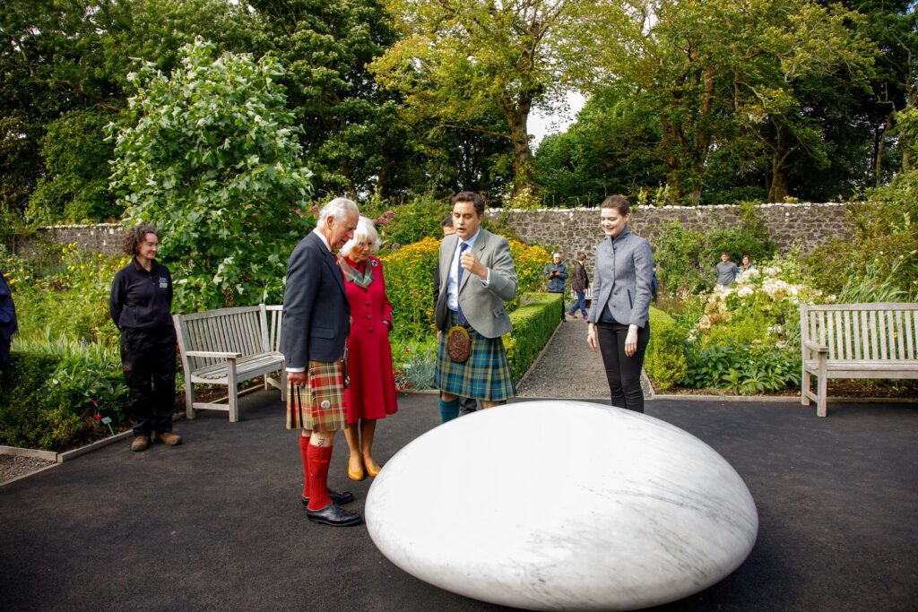 Their Royal Highnesses were invited to view the 'Dunvegan Pebble' sculpture by David Worthington. Photograph: Rosie Woodhouse.