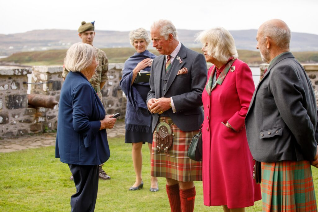 HRH The Duke of Rothesay presented an MBE to Mrs Pat Walsh. Photograph: Rosie Woodhouse.