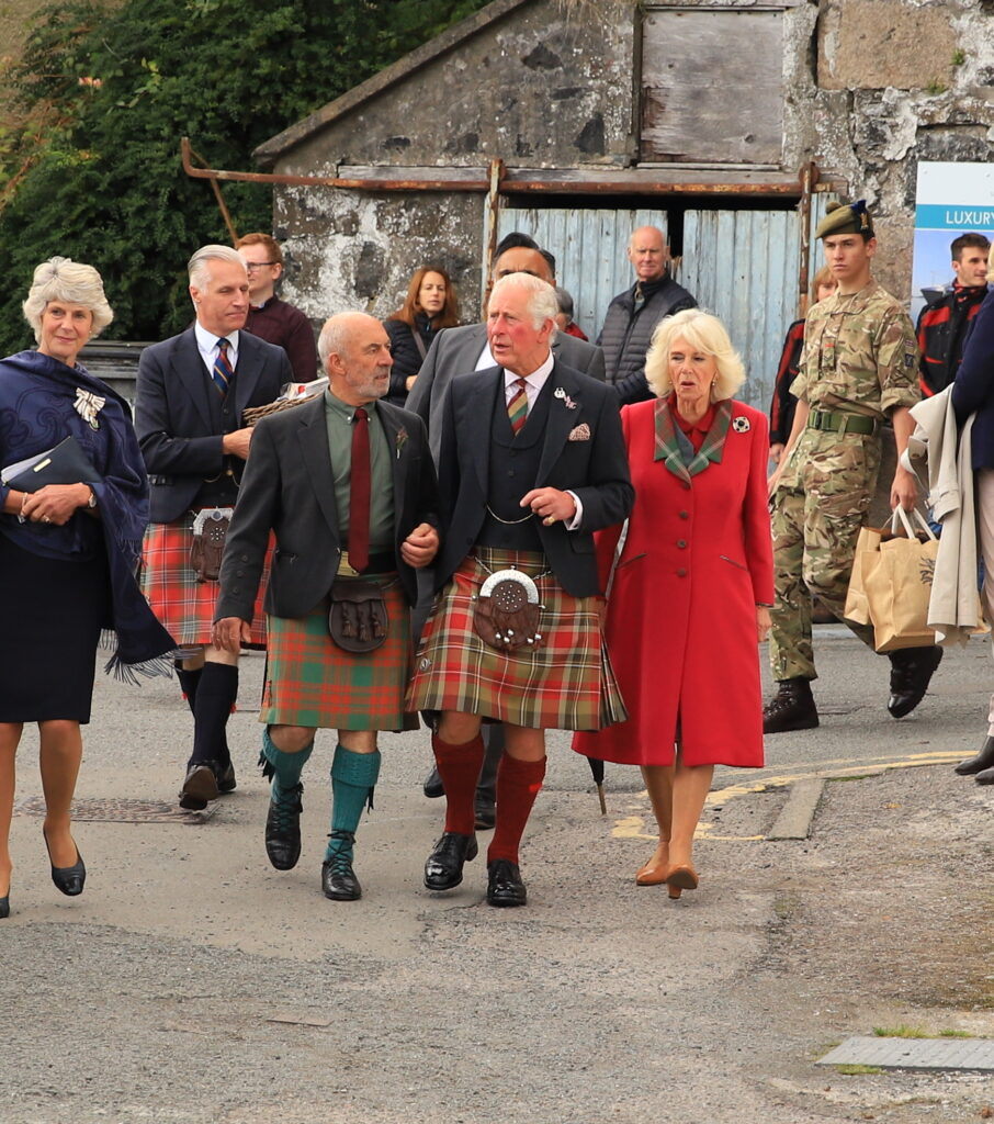 The royal couple, whose formal titles in Scotland are the Duke and Duchess of Rothesay visited various local businesses in Portree.