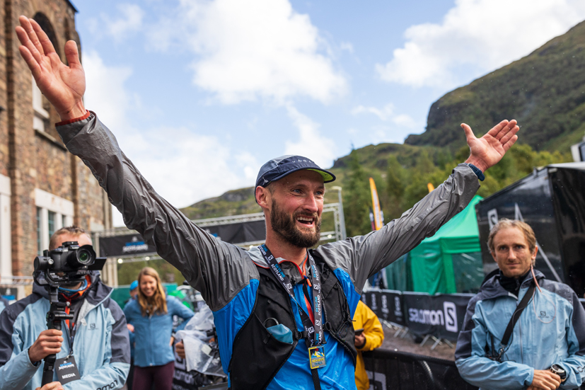 Alan Hilley celebrates victory in the Salomon Ben Nevis Ultra 2021 - copyright No Limits Photography.