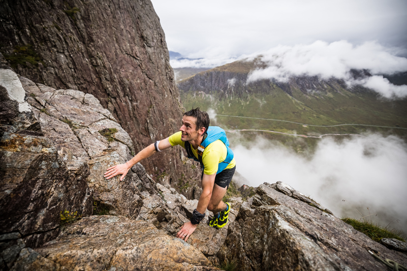 Andrew Fallas leads the way in the Glencoe Skyline 2021 - copyright No Limits Photography.