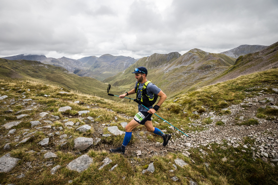 Ben James strides out at the 2021 Ring of Steall Skyrace - copyright No Limits Photography.